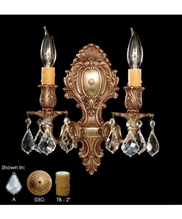 Shown in French Gold Glossy finish, Clear Precision Pendalogue crystal and True Beeswax Candle Cover accent